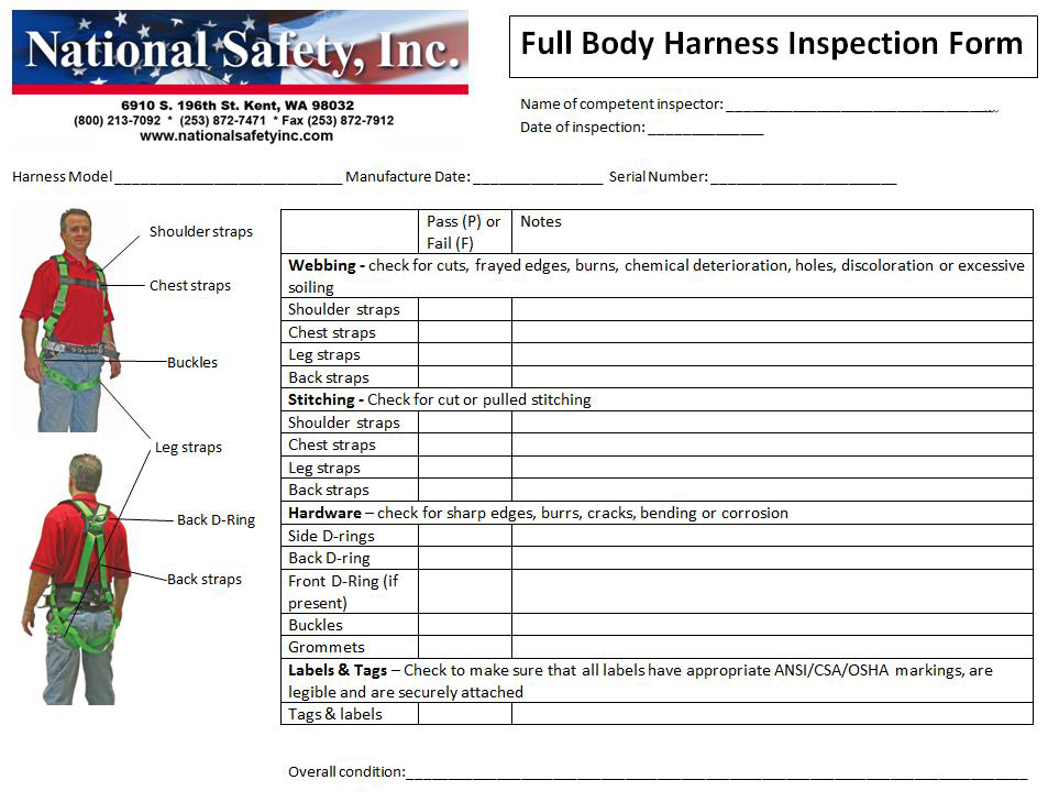 full body harness inspection checklist   38 wiring diagram